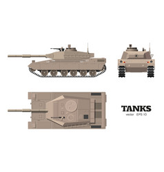 Realistic tank blueprint armored car vector