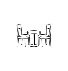restaurant furniture hand drawn sketch icon vector image