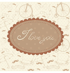 Romantic vintage Valentine invitation postcard vector image