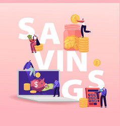 savings concept tiny characters with huge piggy vector image