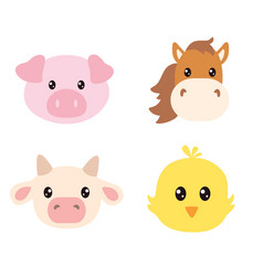 Set cute farm animals faces isolated on white vector