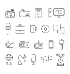 Set flat colorful journalism icons mass media vector