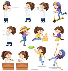 Set girl doing different activities on white vector