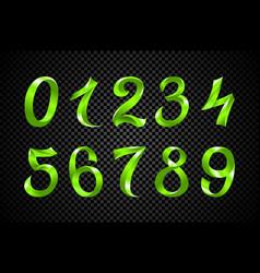 set of festive green ribbon digits iridescent vector image