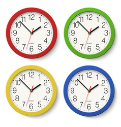 Set of round wall clock with color bodies vector