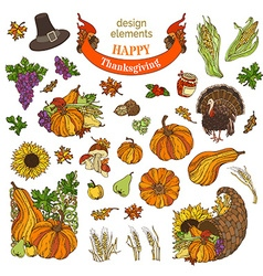 Set of Thanksgiving design elements isolated on vector