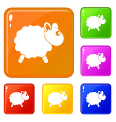 Sheep icons set color vector