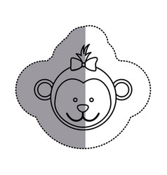 silhouette face bear bow head icon vector image