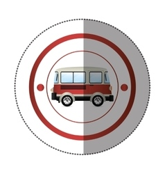 sticker with circular shape with colorful red van vector image