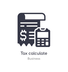Tax calculate outline icon isolated line from vector