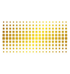 Tooth golden halftone grid vector