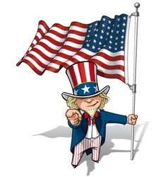 Uncle Sam I Want You US WWI WWII 48 Star Flag vector