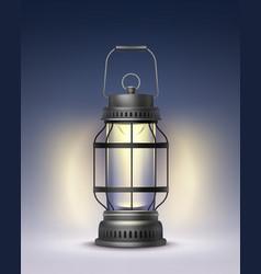 vintage burning lantern vector image