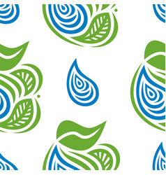 water drops and leaves vector image