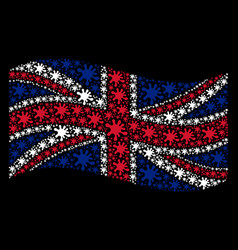 waving british flag pattern of blot items vector image