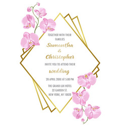 Wedding inviration with orchids vector