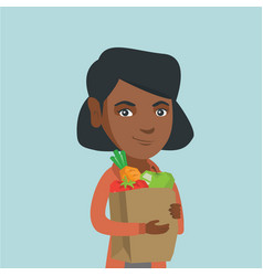Woman holding shopping bag with healthy food vector