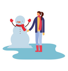 woman with snowman winter season vector image