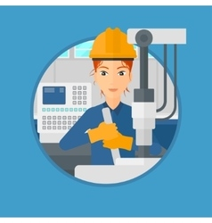 Woman working on industrial drilling machine vector