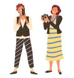 women taking photo photographer female vector image