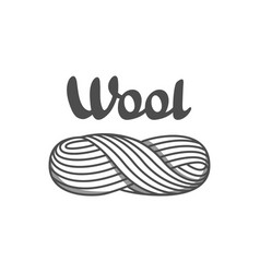 Wool emblem with with skein yarn label vector