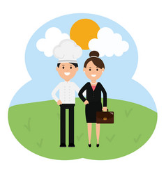young chef with businesswoman vector image