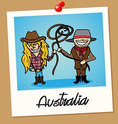 Australia travel polaroid people vector image vector image