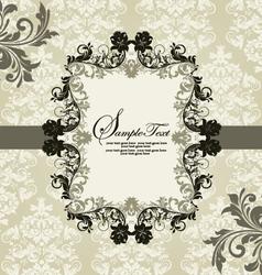 ornate vintage frame on damask background vector image vector image