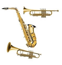 trumpet and saxophone vector image