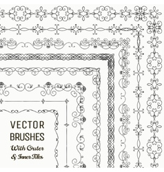 Brushes with Outer and Inner Tiles vector image vector image