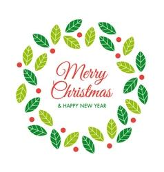 christmas card with christmas wreath vector image vector image
