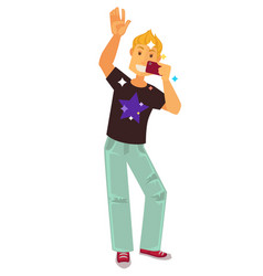 clubber man dancing and making selfie photo vector image vector image