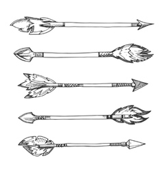 Tribal indian arrows hand drawn decorative vector image vector image