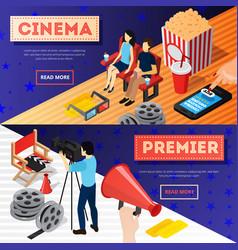 cinema premiere banners set vector image vector image
