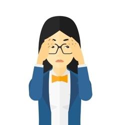 Repentant woman clutching her head vector image vector image