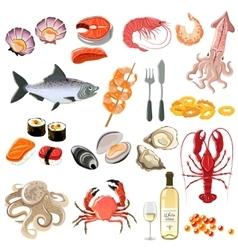 Seafood Icons Set vector image