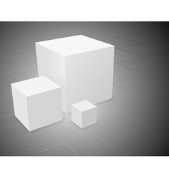 3d abstract background three white cube vector image vector image
