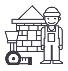 builderbrick housemeter line icon sign vector image