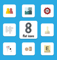 flat icon games set of ace lottery pawn and vector image