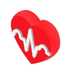 Heartbeat isometric 3d icon vector image vector image