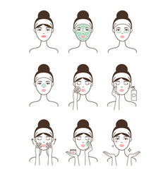 skin care procedure all stages on female model vector image