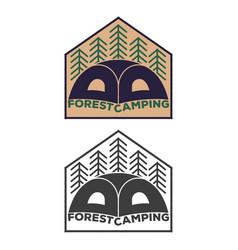 vintage tent emblem with forest vector image