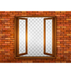 Wooden window on the windowsill vector image vector image