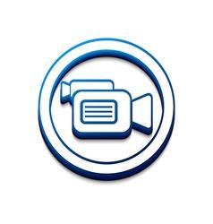 3d glossy camera web icon vector image