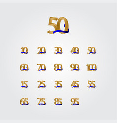 50 years anniversary celebration number gold vector