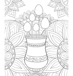 adult coloring bookpage a cute jug with eggs on vector image