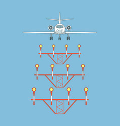 Airplane over landing lights front view vector