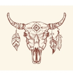 Aztec tribal buffalo skull t-shirt print vector