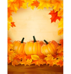 background with three pumpkins and old paper vector image