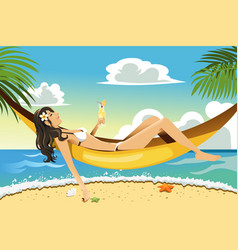 beach woman vector image